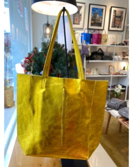 Yellow gold shopper bag - Large