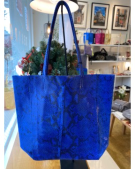 Blue phyton shopper bag - Large