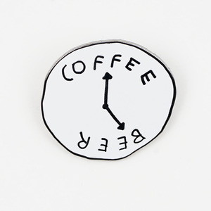 COFFEE BEER CLOCK PIN BY KATY KOSMAN